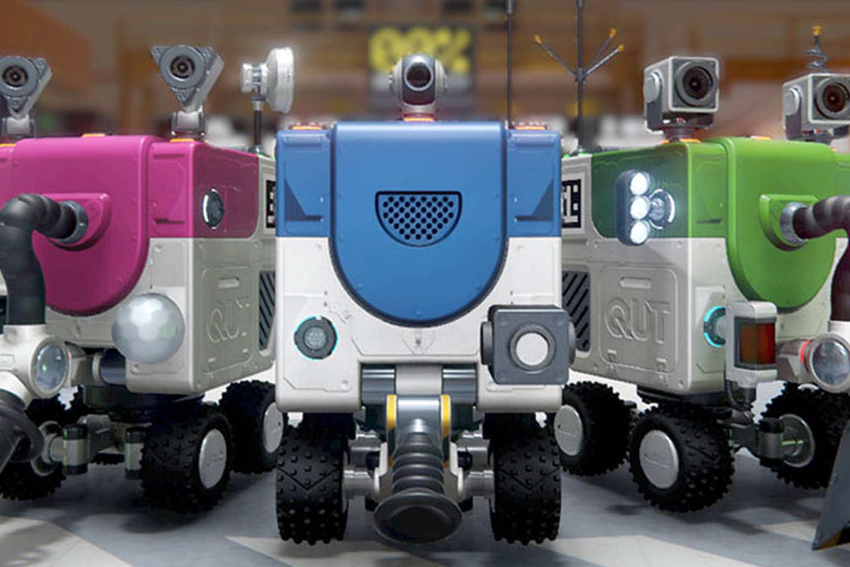 robot trucks sorting recycling